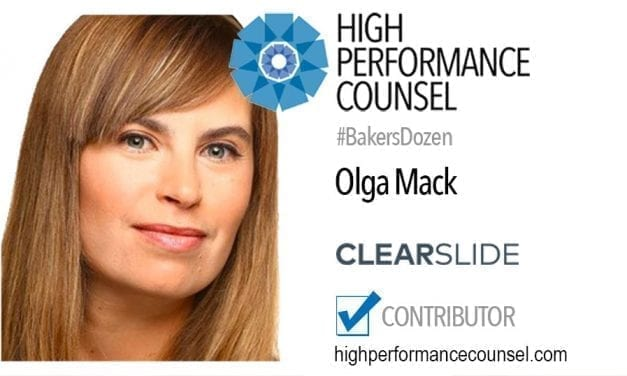 On #BakersDozen: Startup Lawyer Olga Mack Speaks With High Performance Counsel