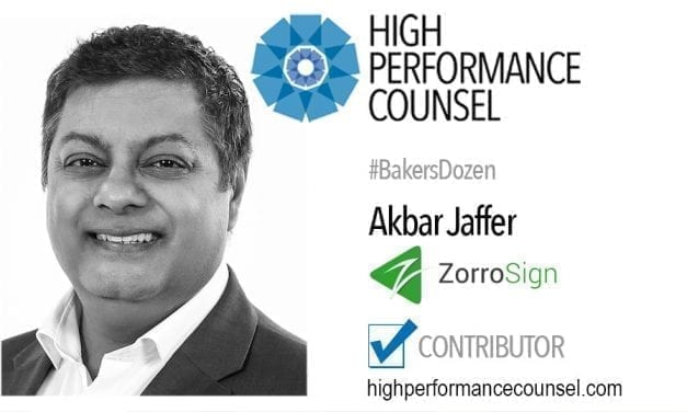 On #BakersDozen: Akbar Jaffer, CMO of Award-Winning ZorroSign – In Interview with High Performance Counsel