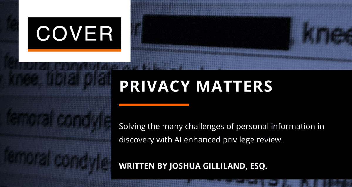 White Paper: Privacy Matters – Solving The Many Challenges of Personal Information in Discovery with AI Enhanced Privilege Review